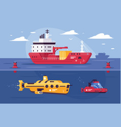 water transport for carriage of goods exploring vector image