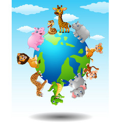 Wild animals around the world vector