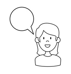 Woman with speech bubble vector