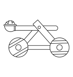 Wooden catapult icon outline style vector