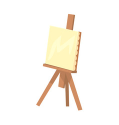 Wooden easel with canvas artistic equipment vector