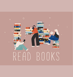 Young stylish female readers sitting on stack vector