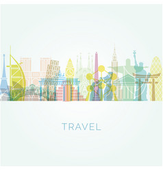 background of famous buildings and monuments vector image
