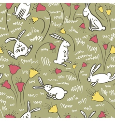 bunnies and flowers vector image vector image