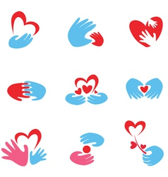 hand and heart symbols vector image vector image