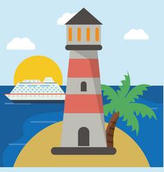lighthouse cruise beach sun vector image vector image
