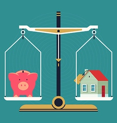Weight Scales with a Piggy Bank and House vector image