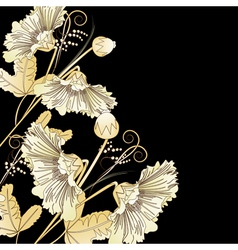 Wild flowers on a black vector image