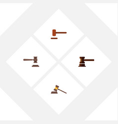 flat icon hammer set of government building legal vector image vector image