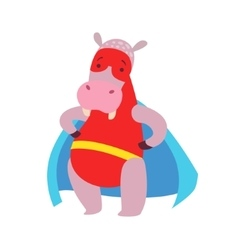 Hippo Animal Dressed As Superhero With A Cape vector image
