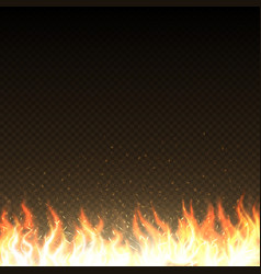 hot fire flames with glowing sparks isolated vector image vector image