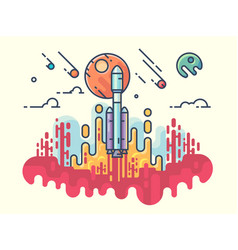 launching rocket into space vector image vector image