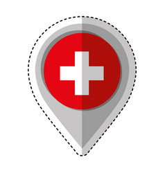 pin location with switzerland flag vector image