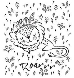 roar cute sleeping lion vector image