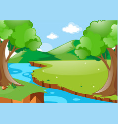 scene with river in the woods vector image vector image