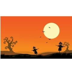 Silhouette of scarecrow halloween backgrounds vector image vector image
