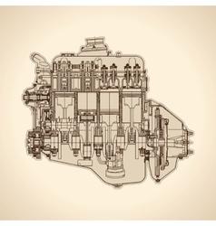 Vintage engine old picture vector image