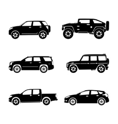 Black silhouette cars on white background vector image