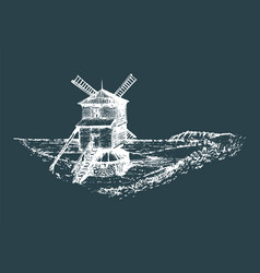 Hand sketch of rustic windmill in fields vector
