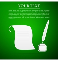 Quill Pen with inkwell and paper scroll flat icon vector image
