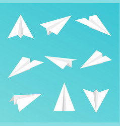set a simple paper planes icon vector image vector image