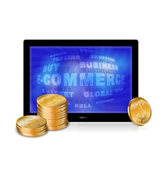 Tablet pc with golden coins vector image vector image
