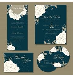 wedding floral cards set vector image vector image