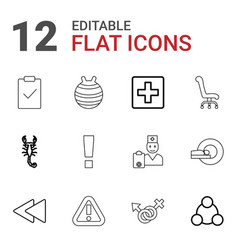 12 blue icons vector