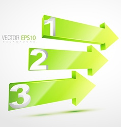 3d green nubered arrows vector image