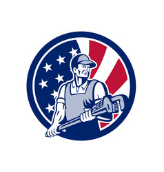 American plumber and pipefitter usa flag icon vector