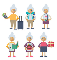 An old woman performing different actions vector