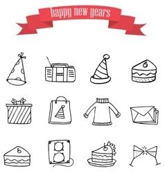 art of new year element icons vector image