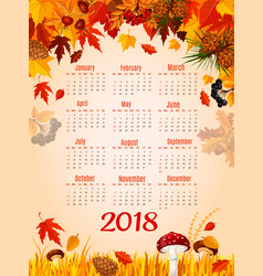 Autumn leaf fall 2018 calendar template vector