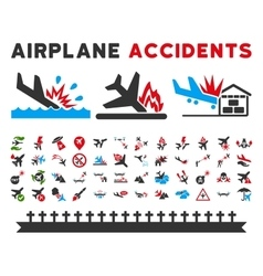 Aviation Accidents Icons vector image