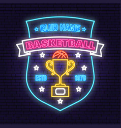 basketball sport club badge neon design vector image