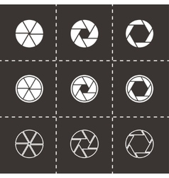 Black camera shutter icon set vector