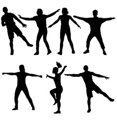 Black set silhouettes dancing on white background vector