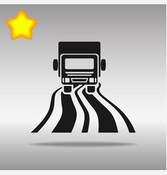 Black truck on the road icon button logo symbol vector