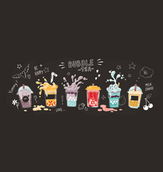 bubble tea cup cartoon hand drawn poster sweet vector image