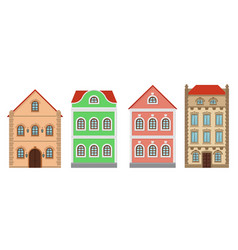 Buildings old european houses colored set vector