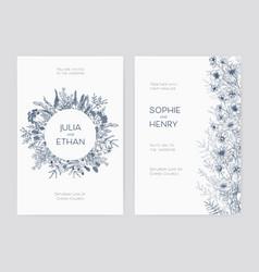 Bundle elegant wedding party invitation vector