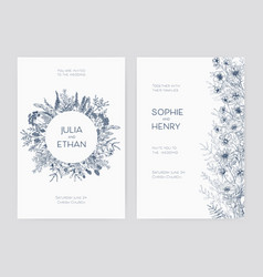 bundle of elegant wedding party invitation vector image