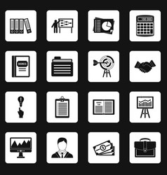 Business plan icons set squares vector