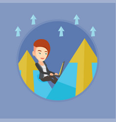 business woman working on laptop in the mountains vector image