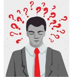 Businessman portrait - thinking man with question vector image