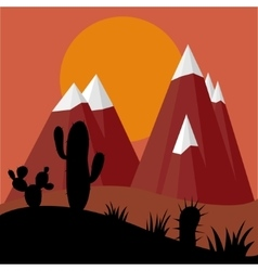 Cactus plants in desert sunset with mountains vector