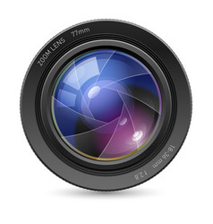 Camera icon lens on white background vector