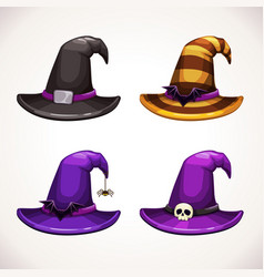 Cartoon witch hat colorful icons set halloween vector