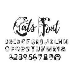 Cats font cute black and white alphabet numbers vector
