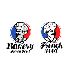 Chef cook logo french food bakery symbol or vector